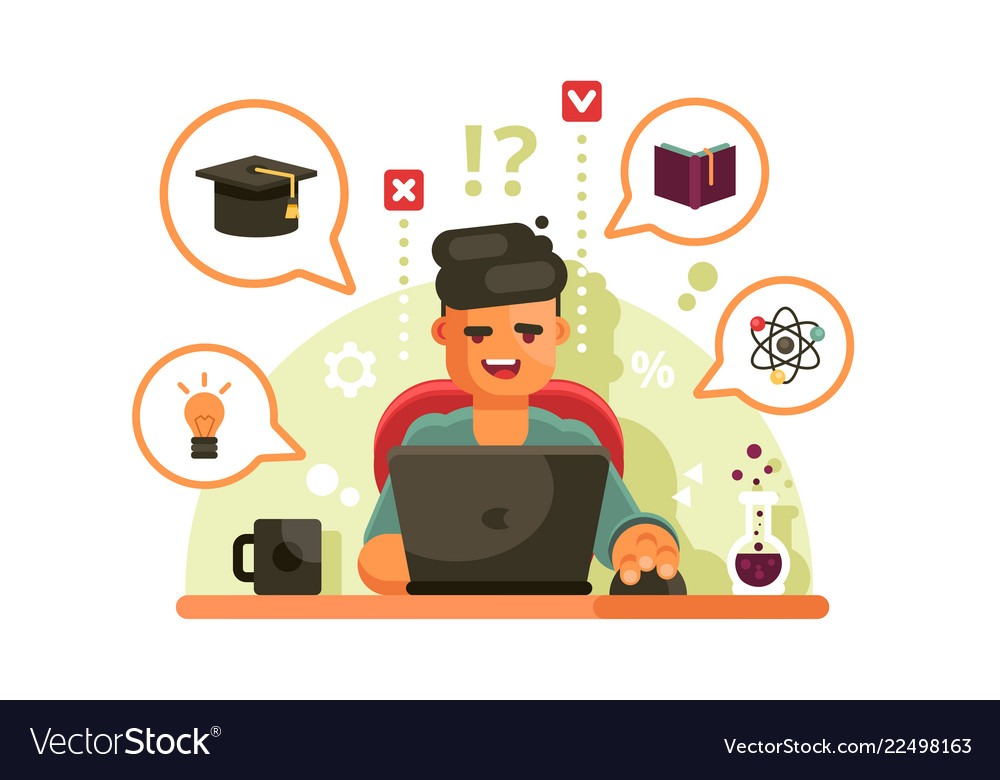 Man studying with laptop online education concept