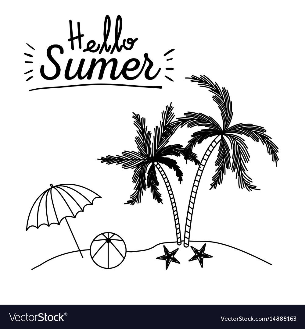 Monochrome poster of hello summer with umbrella