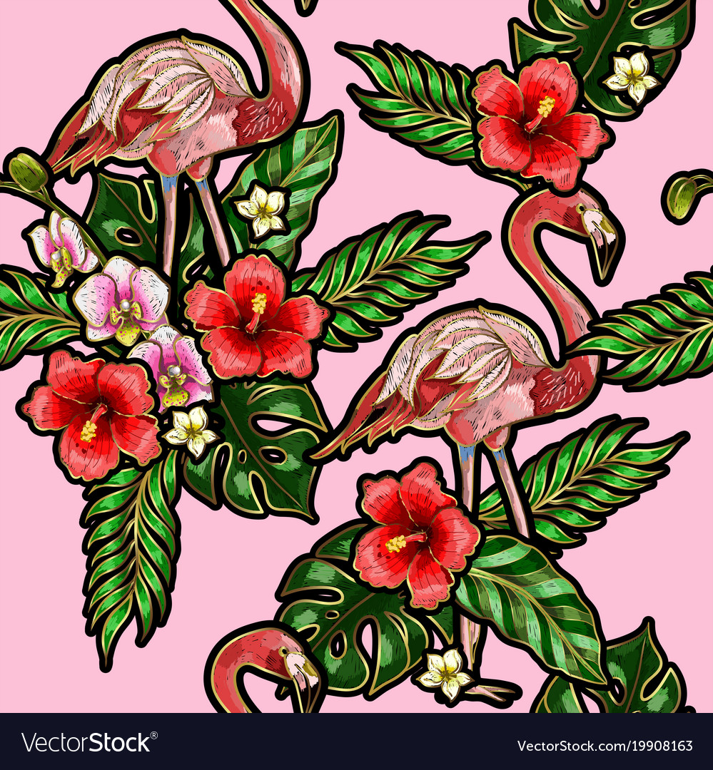 Seamless pattern with flamingo embroidery