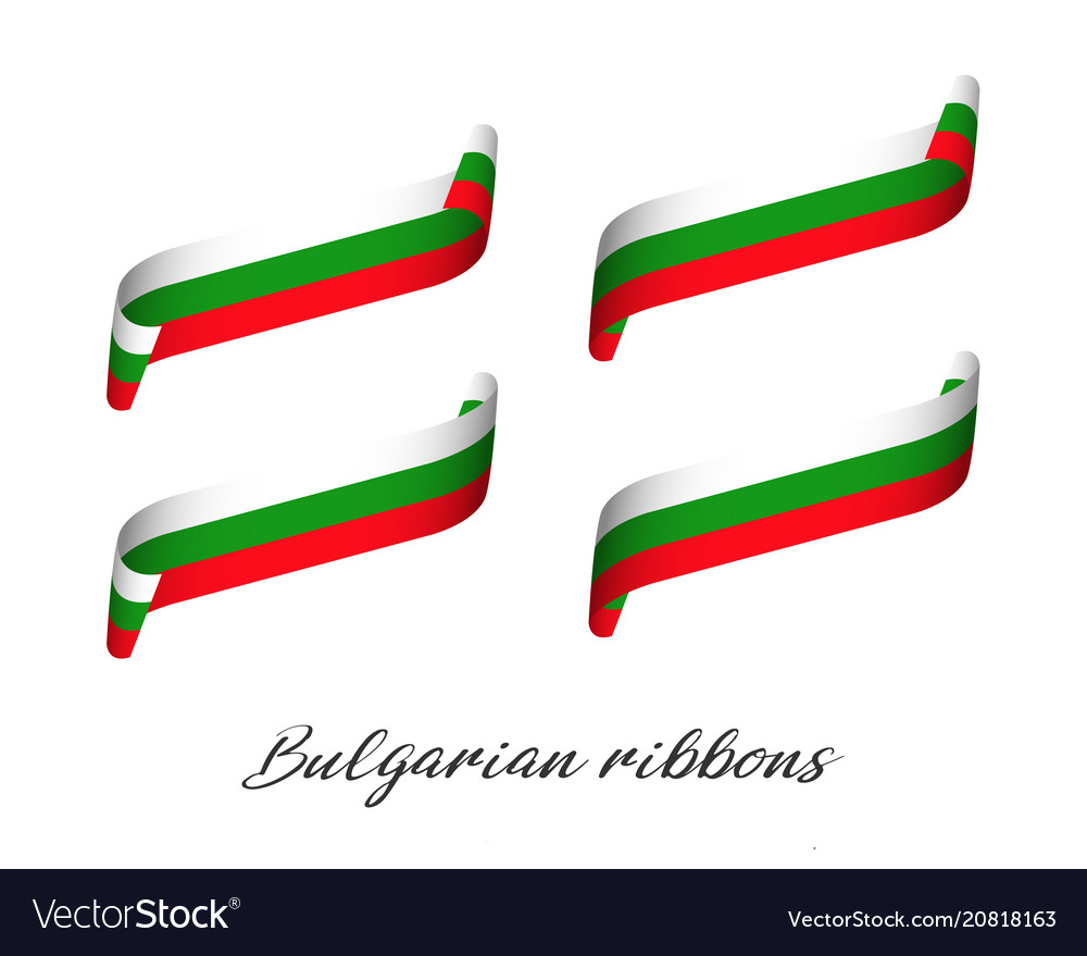 Set of four modern colored bulgarian ribbons vector image