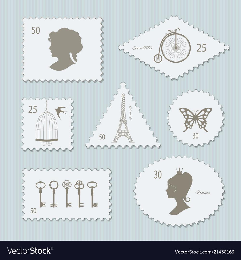 Vintage postage stamps different shapes set