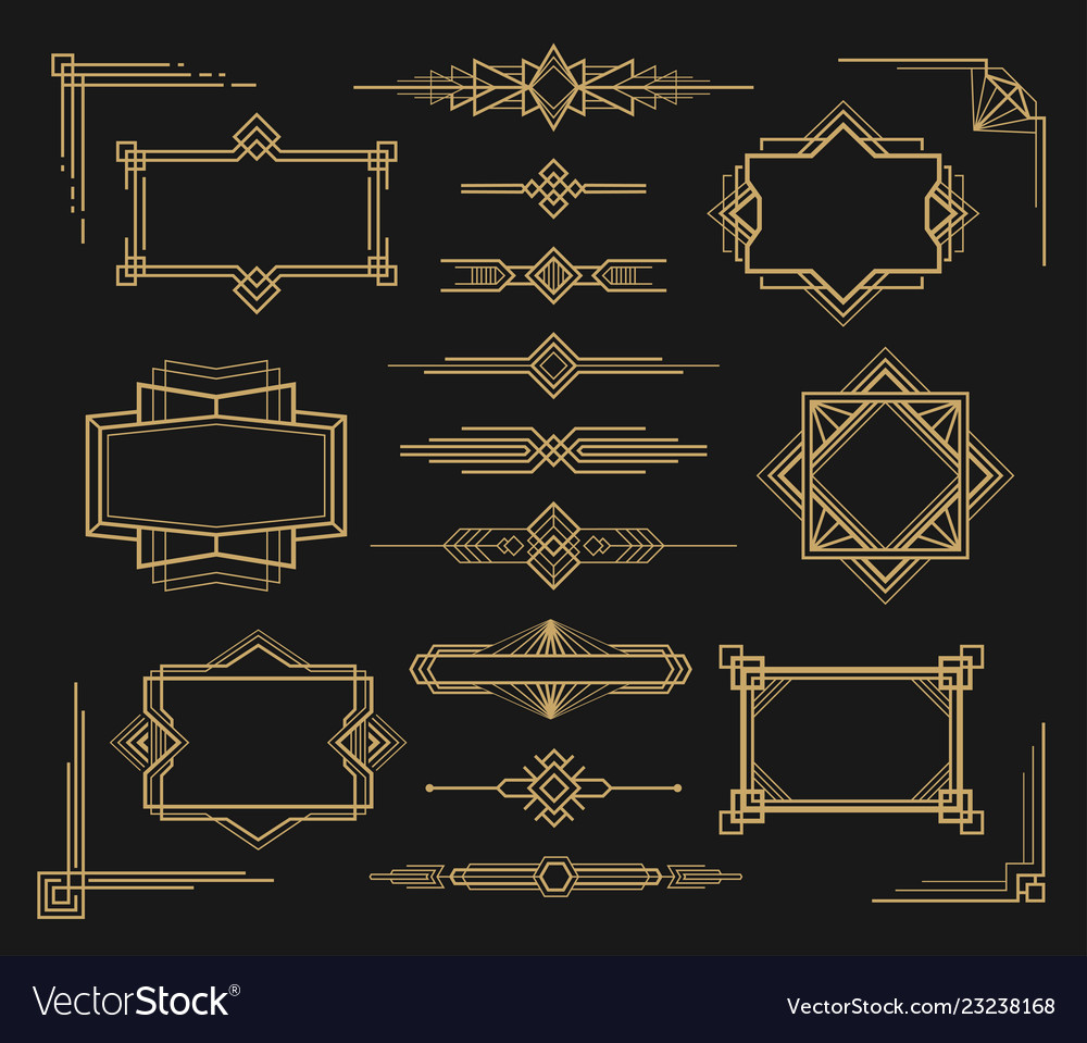 Art deco frame and border ornament set