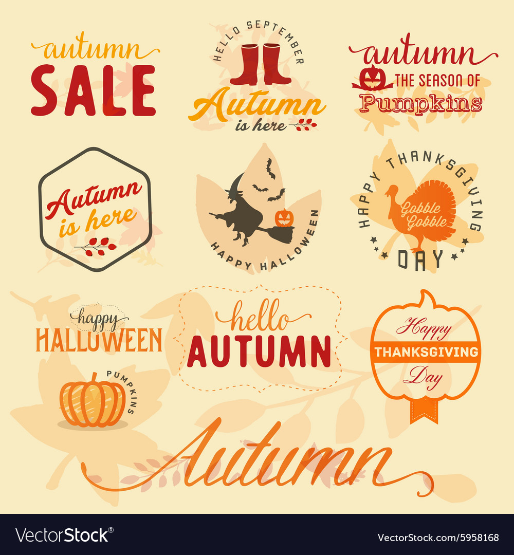 Autumn Design Elements and Badges in Vintage Style