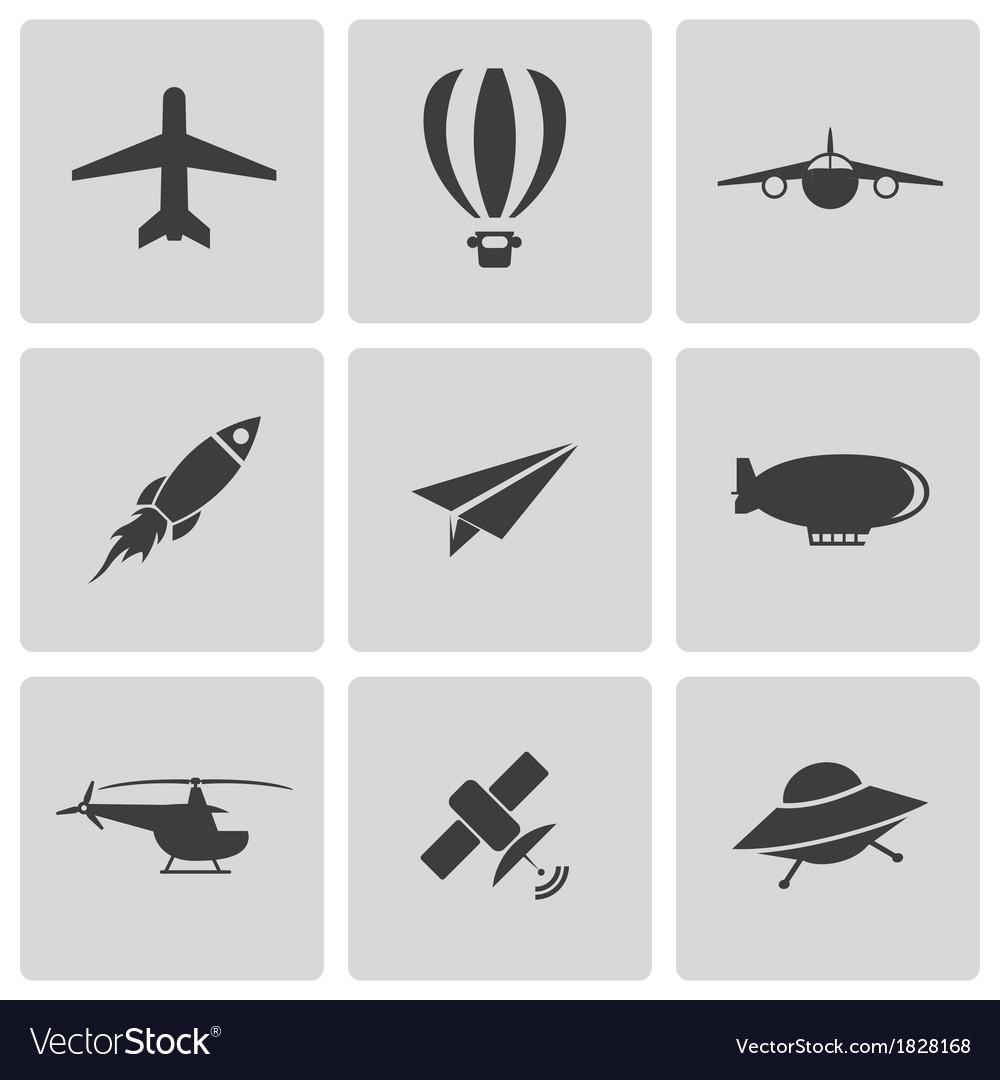 Black airplane icons set