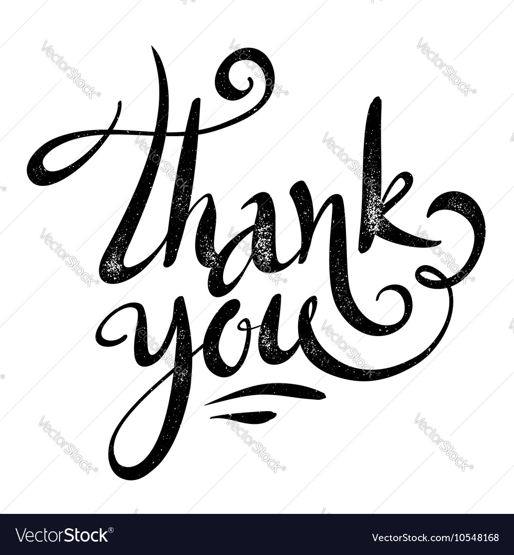 Black Thank you sign in grunge calligraphy Vector Image