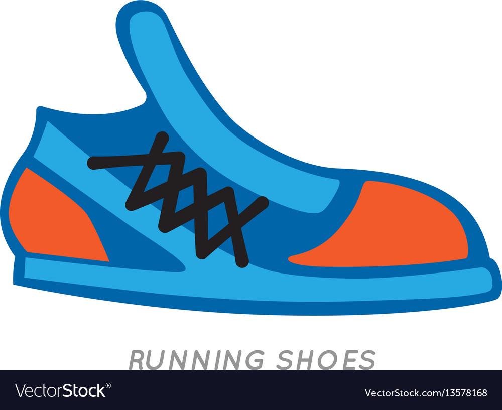 Blue-orange running shoes icon isolated on white