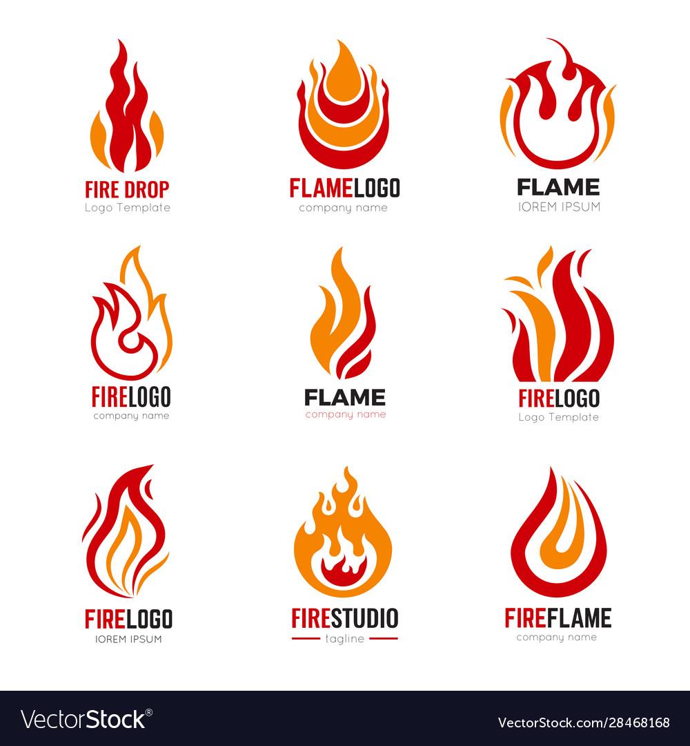Flame logo burning fire graphic symbols