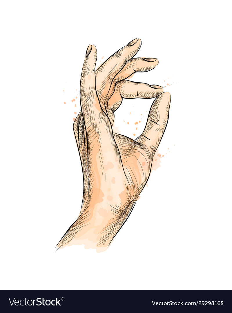 Hand gesture ok from a splash watercolor hand