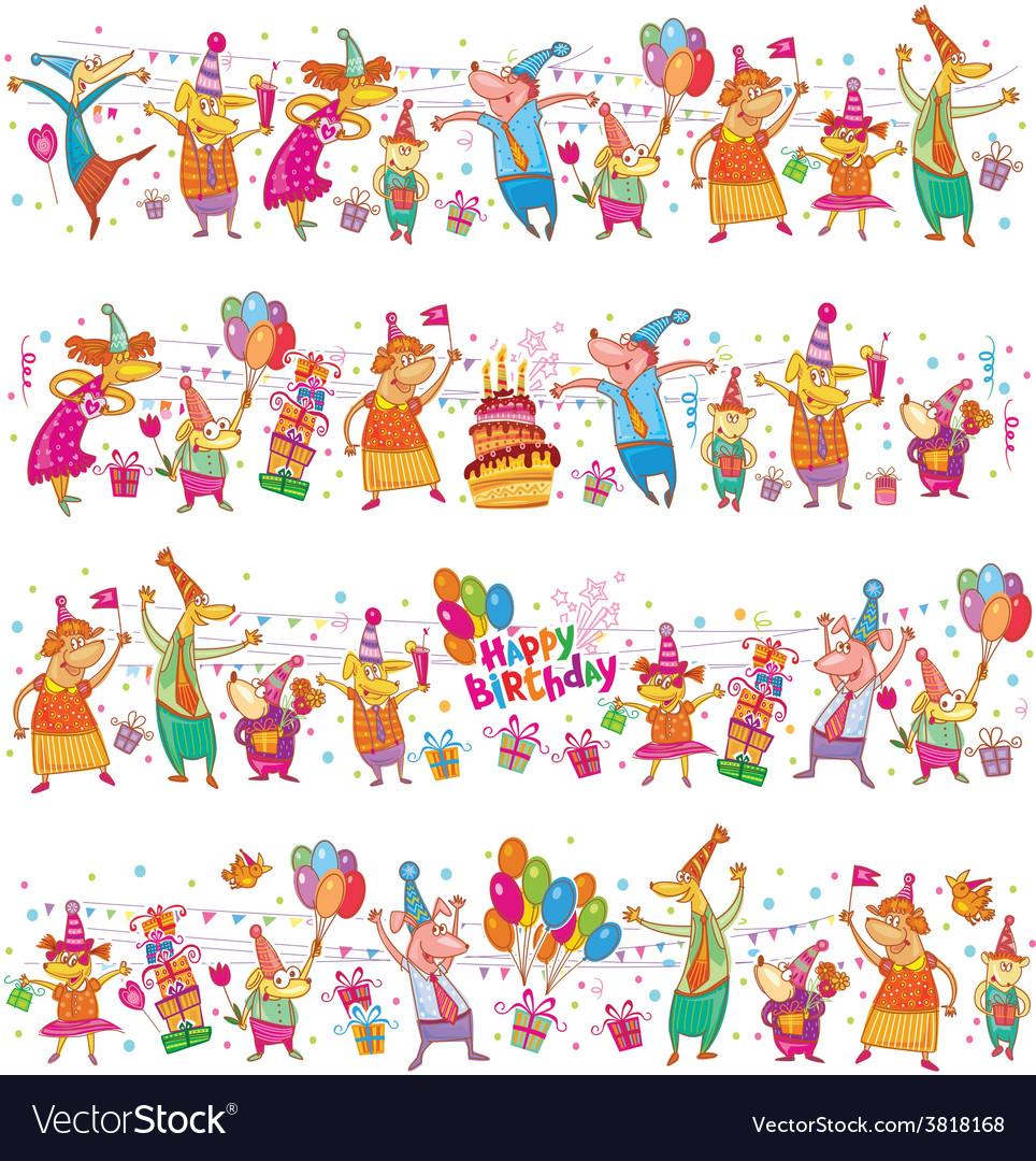 Happy birthday cartoon border vector image