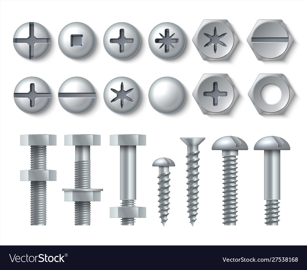 Metal bolt and screw realistic steel nails