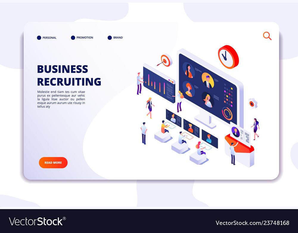 Recruitment landing page businessmen have