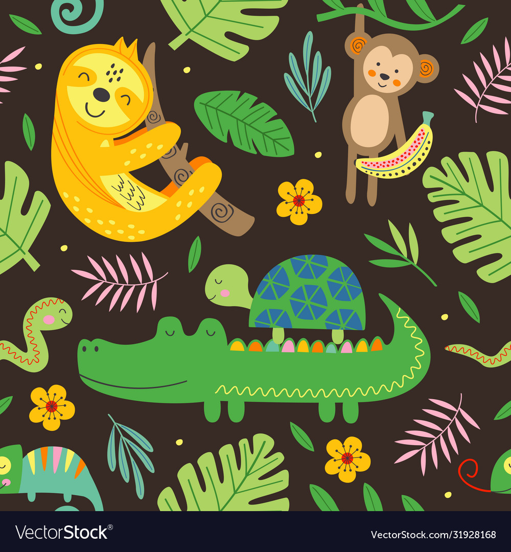 Seamless pattern with funny jungle animals