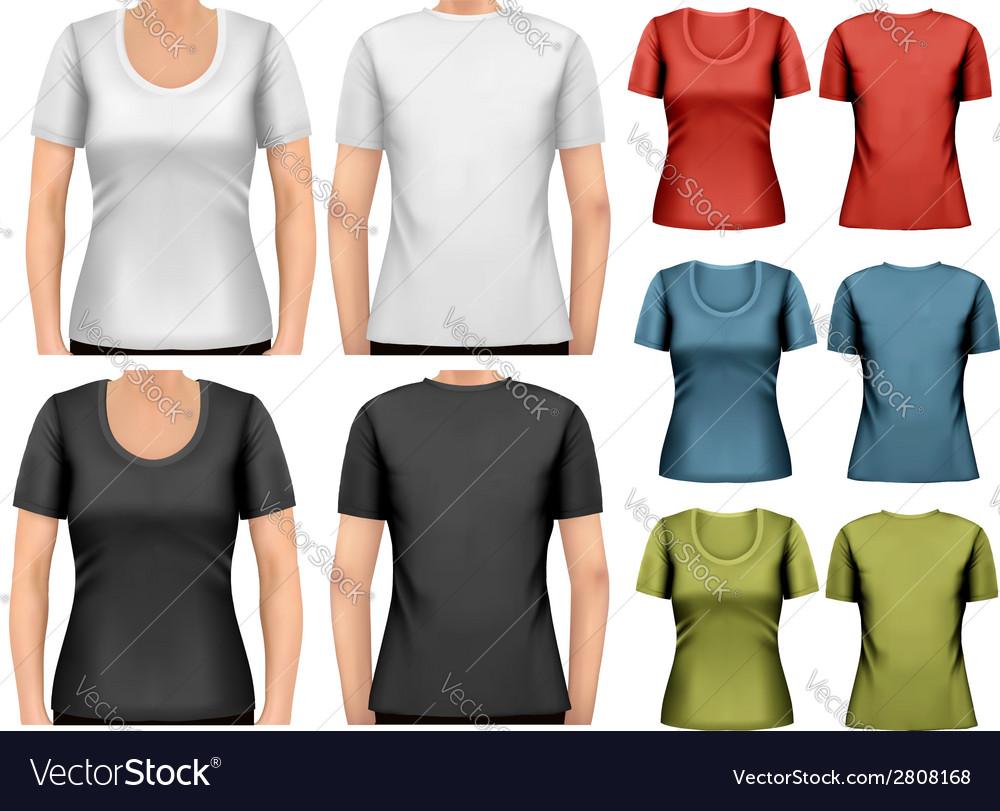 Set of colorful female t-shirts