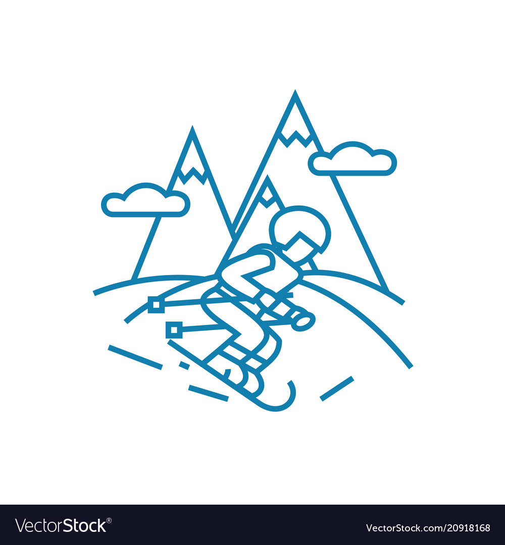 Skiing linear icon concept skiing line