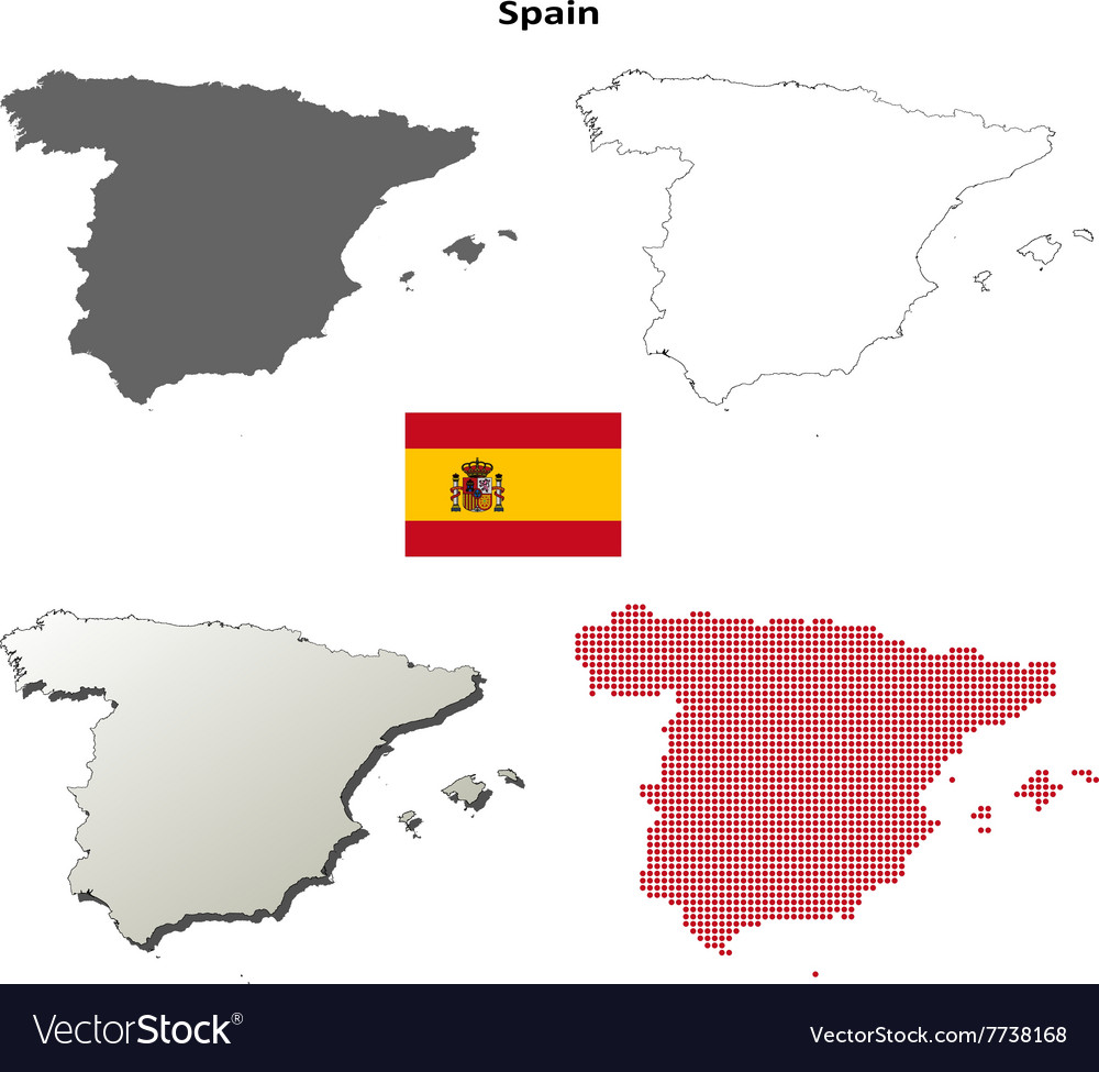 Spain Outline Map Set Royalty Free Vector Image