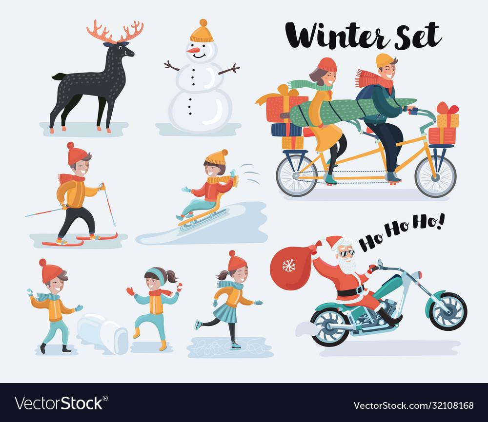 Winter christmas people set flat