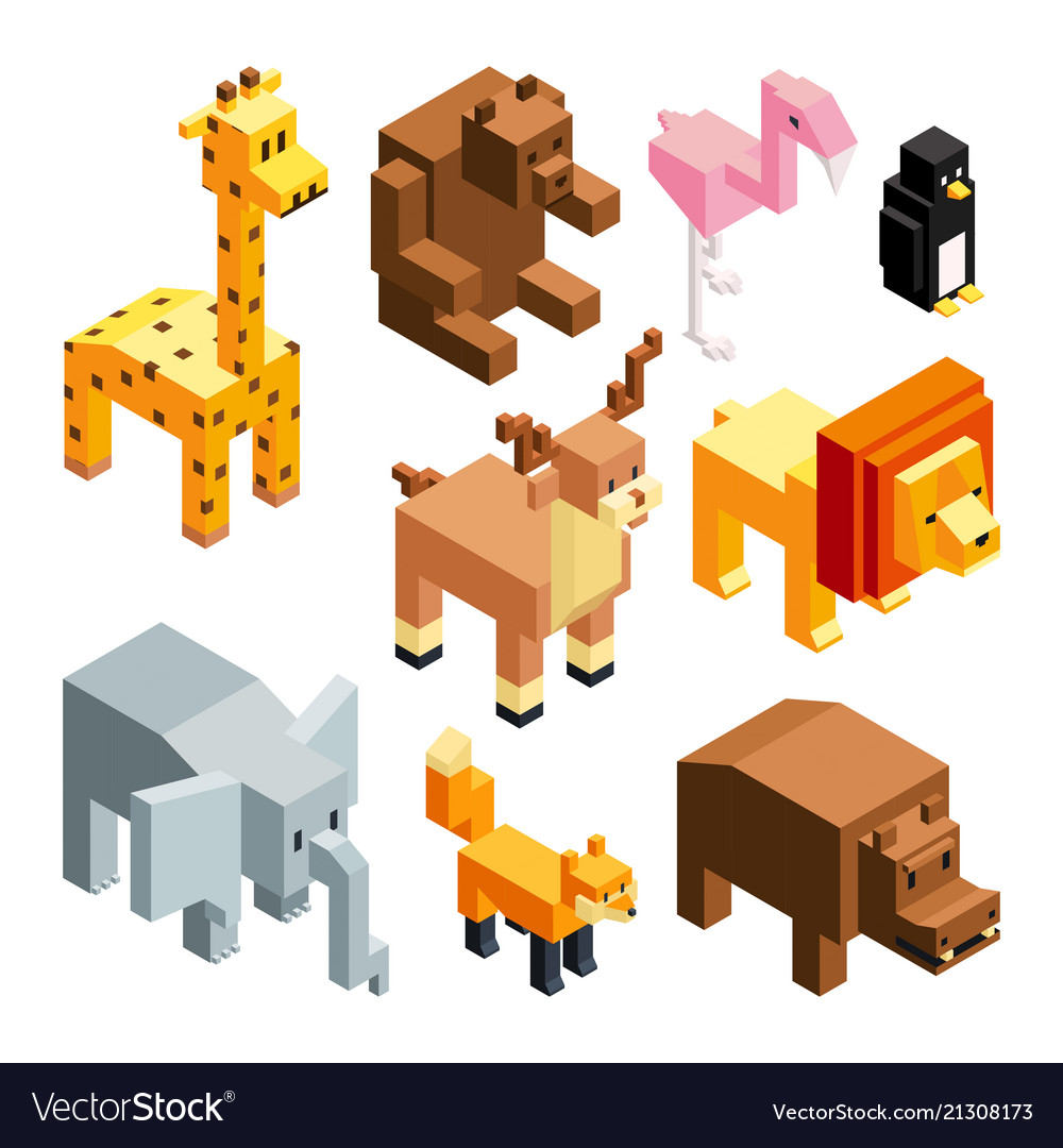 3d toy animals isometric pictures isolate