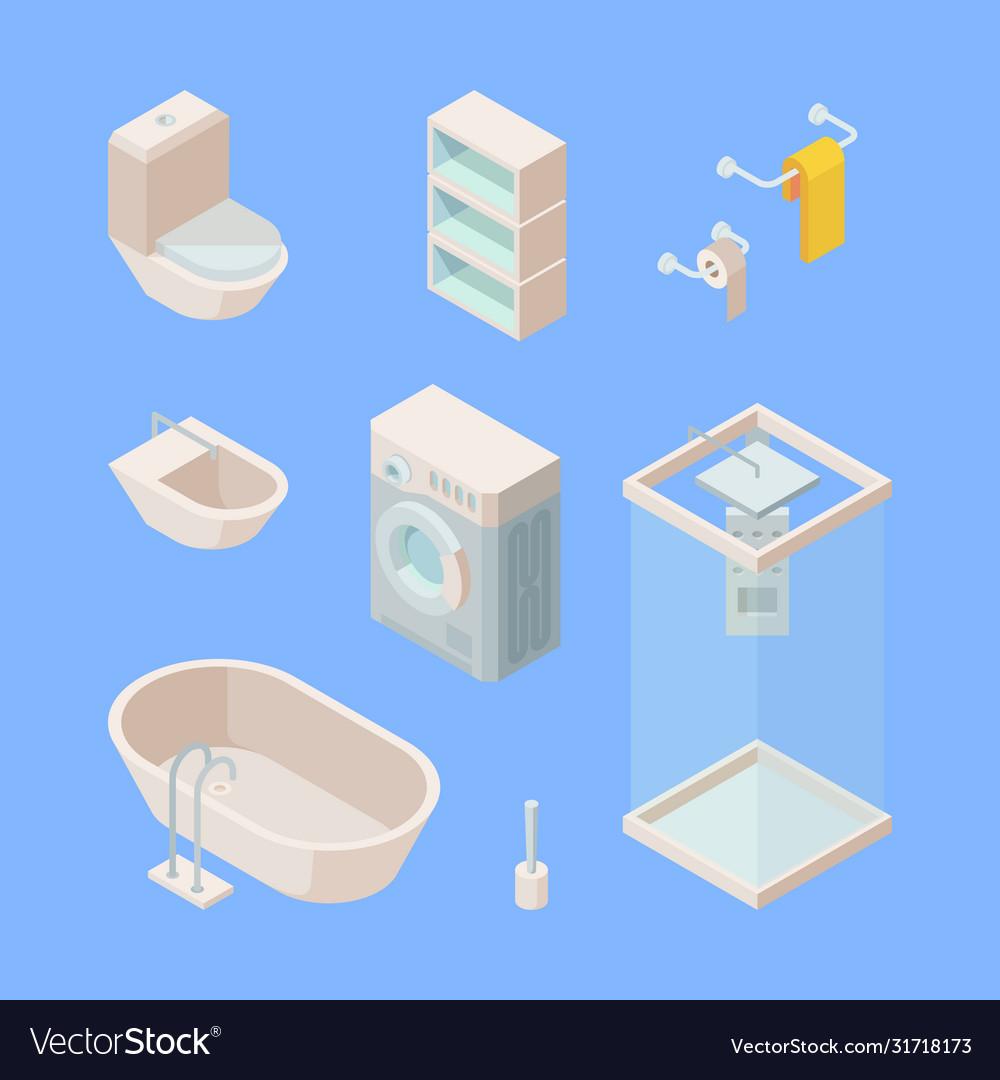 Bathroom isometric set controlled shower washing