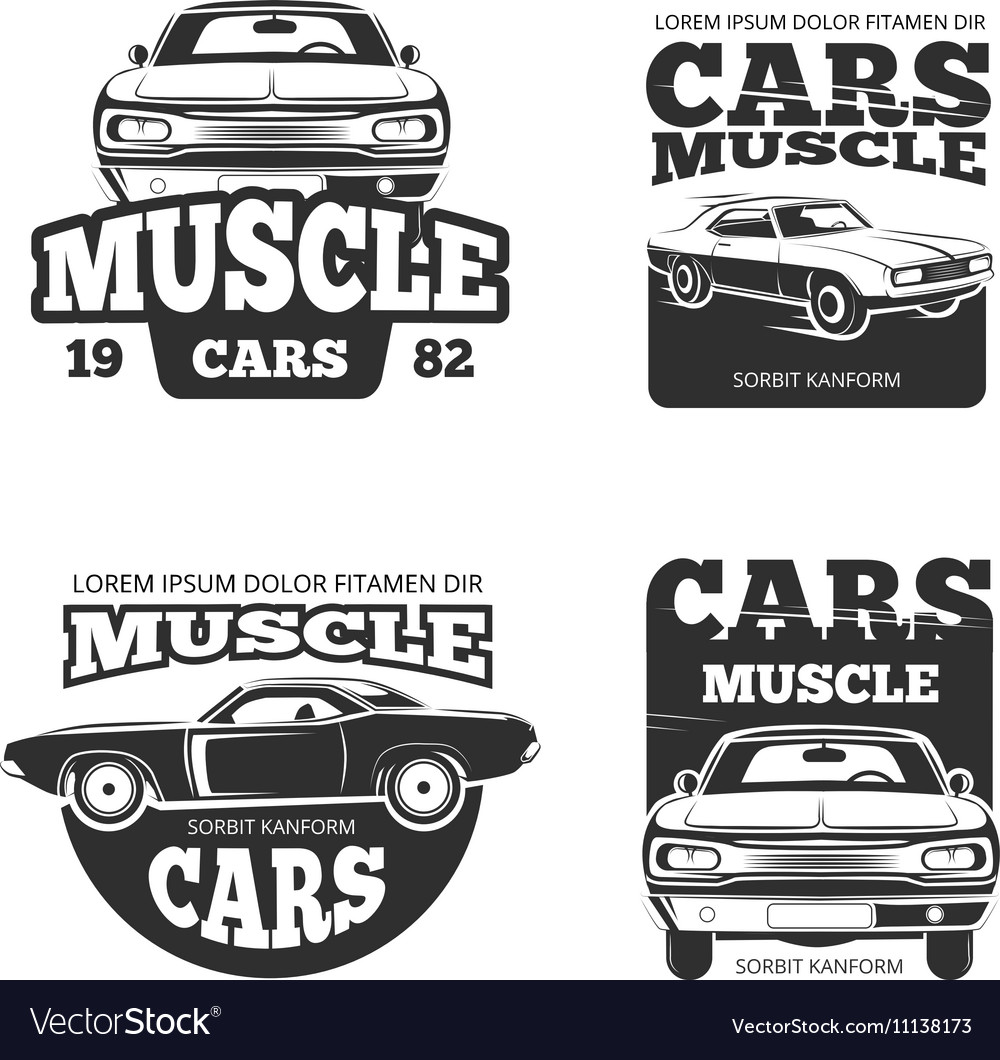 Classic Muscle Car Vintage Labels Logo Royalty Free Vector
