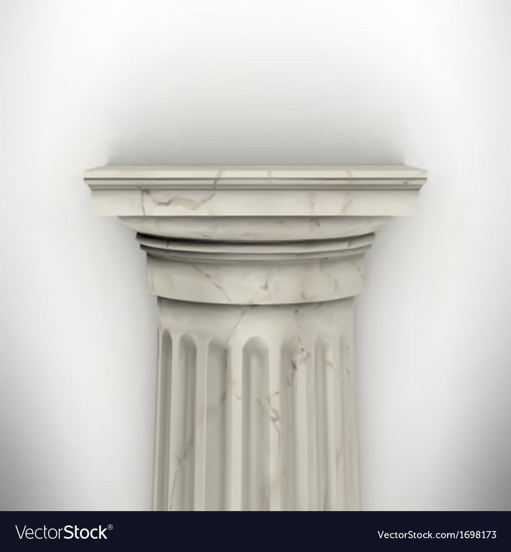 Column isolated on white wall