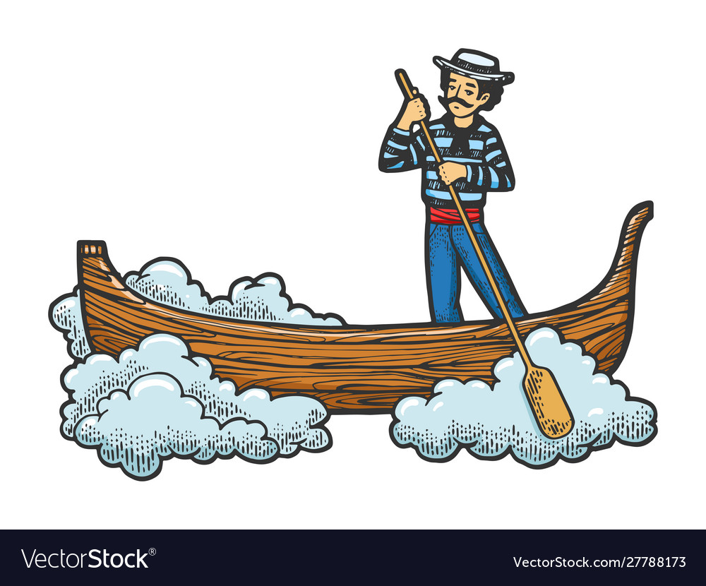 Flying gondola boat sketch engraving