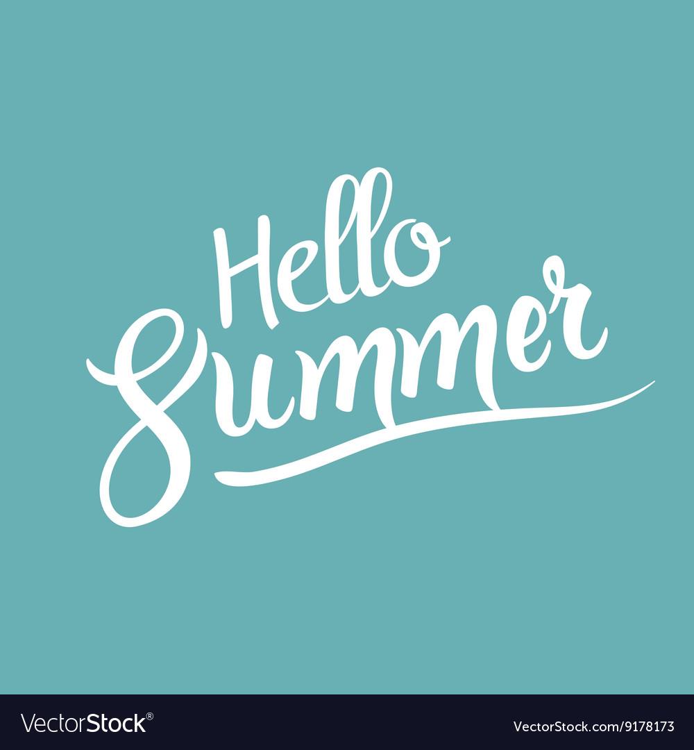 Hello Summer lettering tpography design template