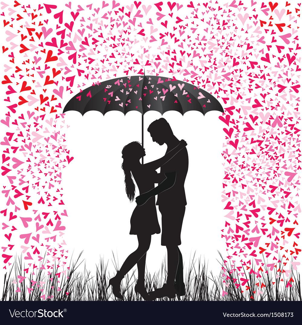 Kissing couple heart rain
