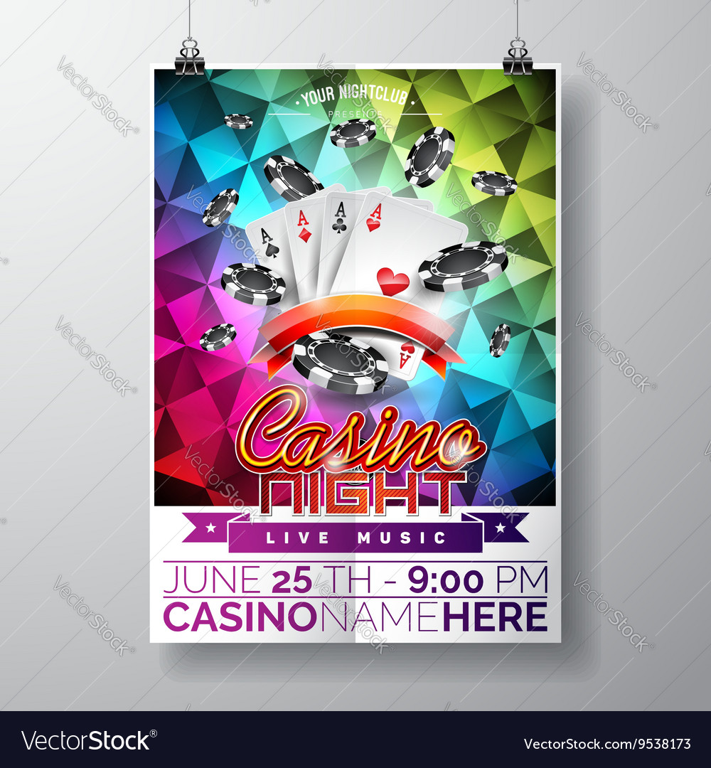 Party Flyer design on a Casino theme with chips