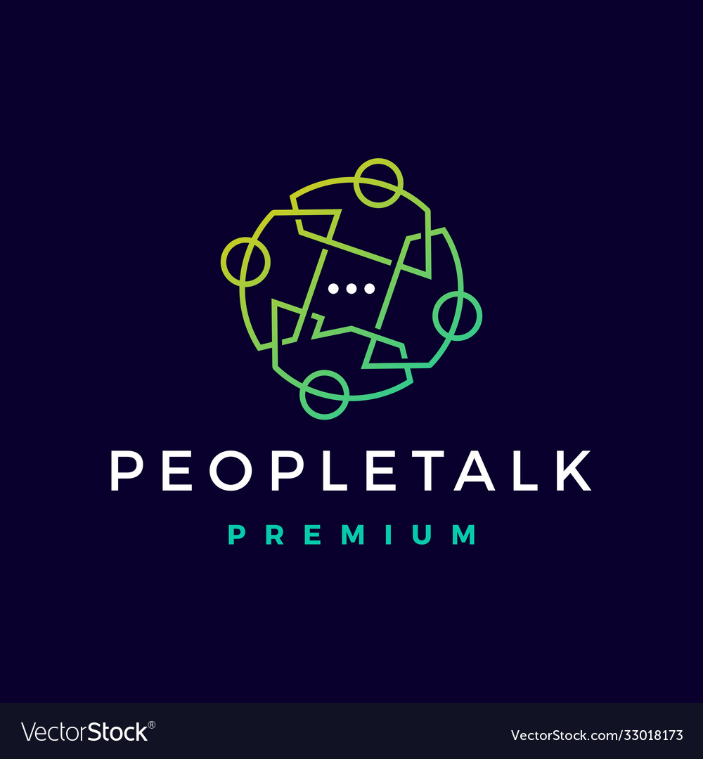 People talk chat bubble logo icon