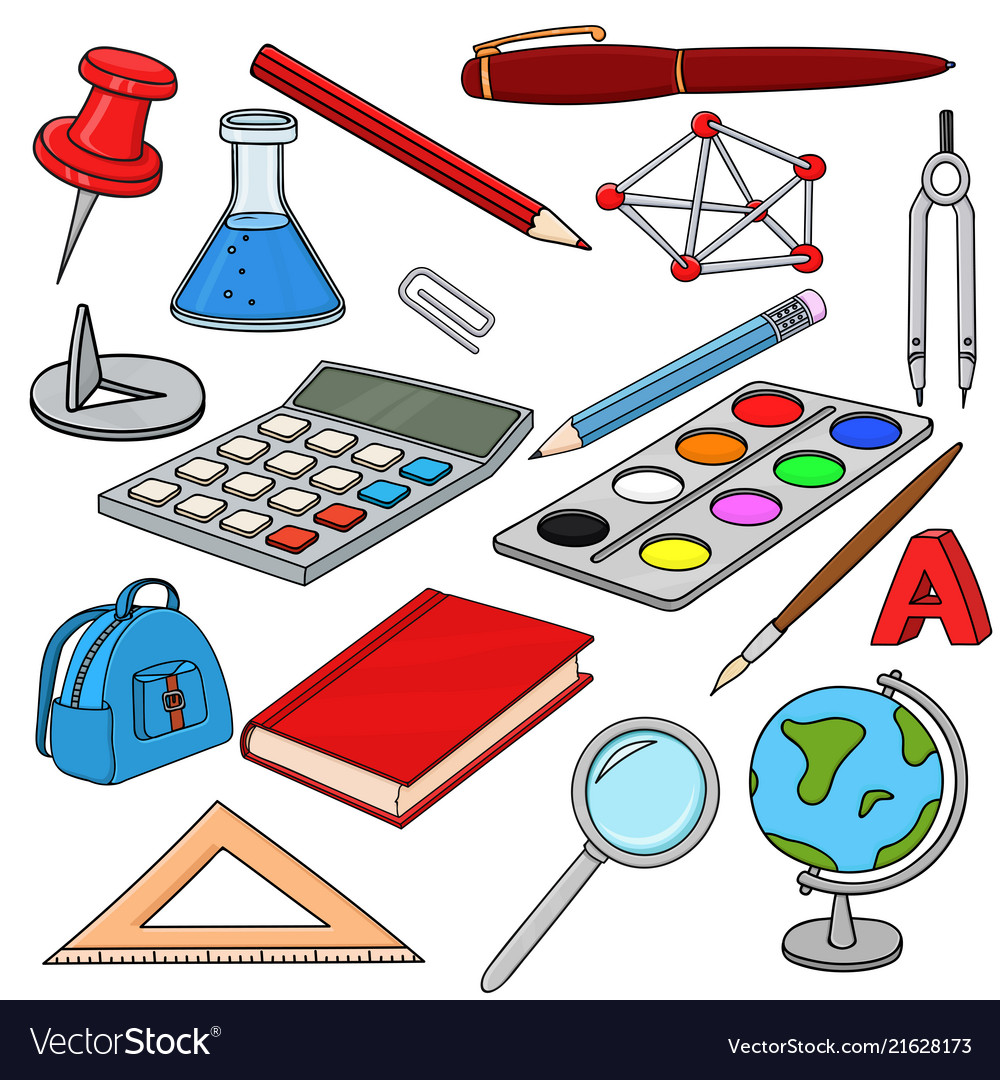 School doodle colored set of stationery tools