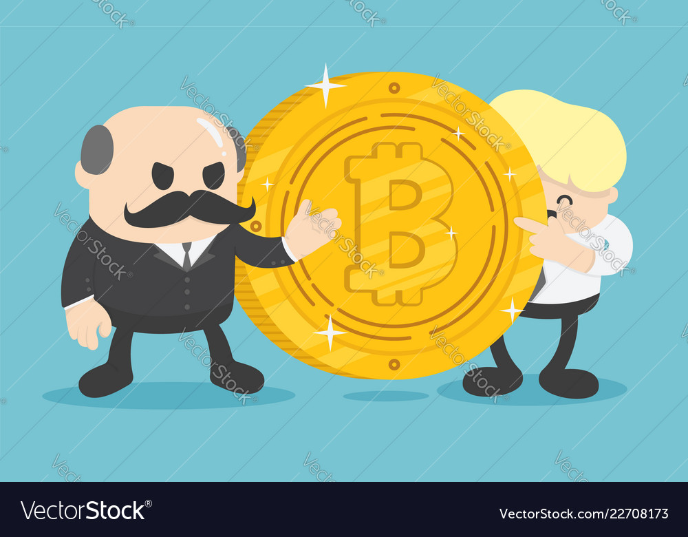 Two businessmen who are offering bitcoin coins