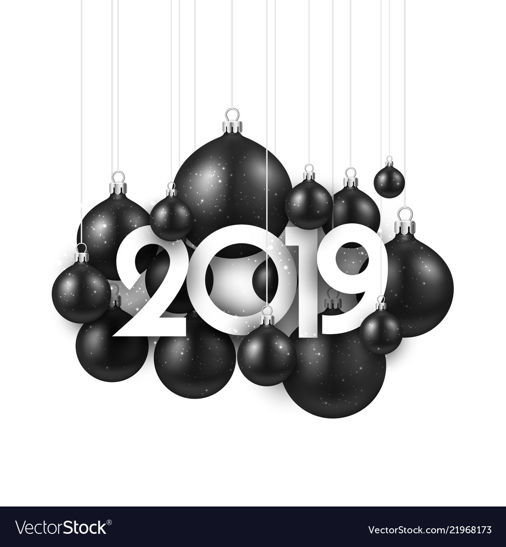 White festive 2019 new year card with black