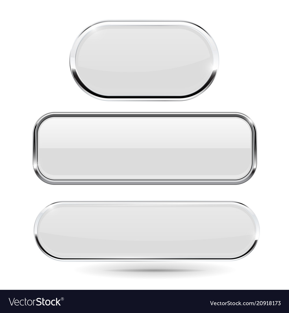 8fc623621ca White glass 3d buttons with chrome frame Vector Image