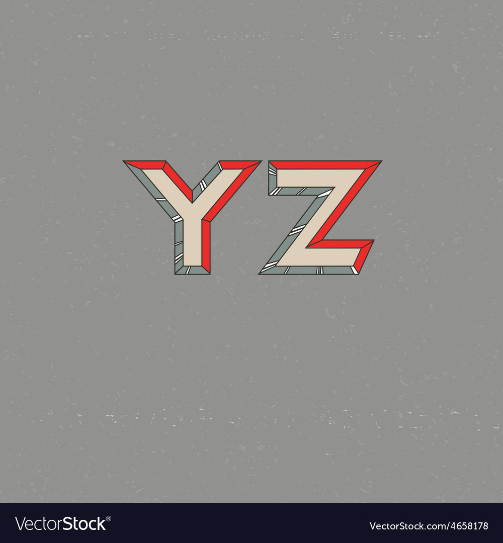 80s Retro Futuristic Font from Y to Z