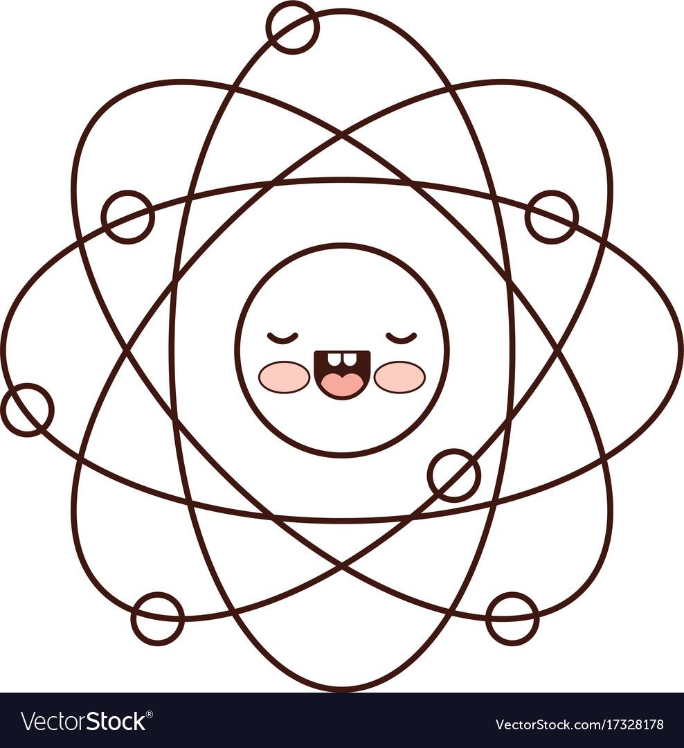 Atom cartoon kawaii in monochrome silhouette