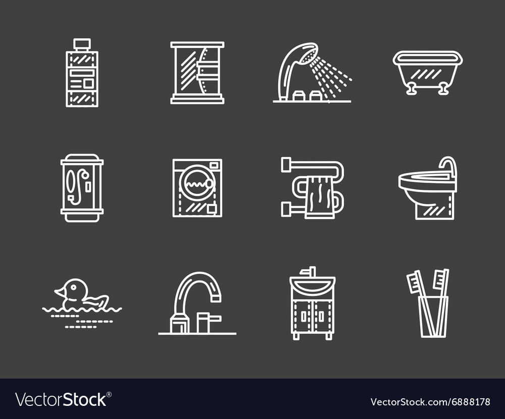 Bath objects white line icons collection