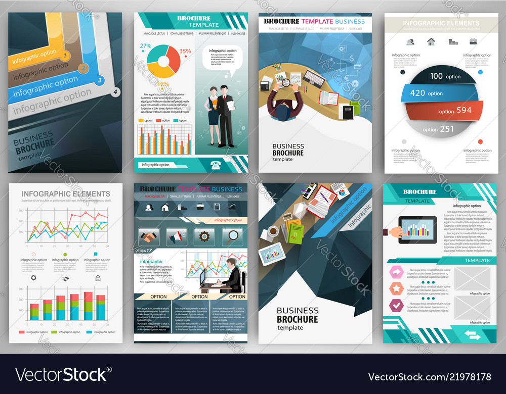 Blue business brochure template with infographic
