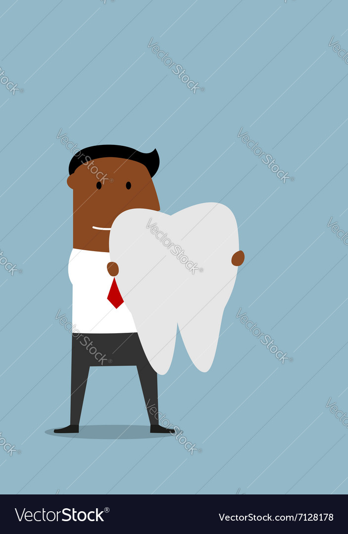 Businessman with a large white tooth