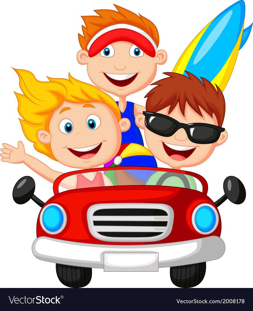 Cartoon Young man and woman having fun driving the