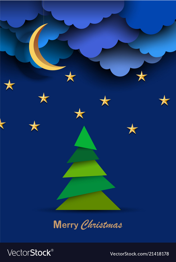 Christmas card with paper night clouds moonstars