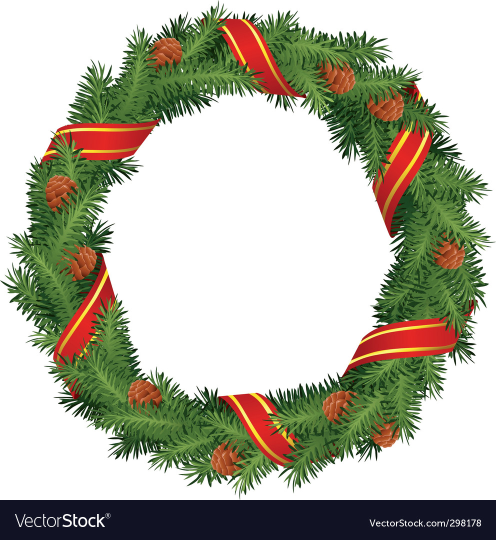 Christmas wreath with red ribb vector image