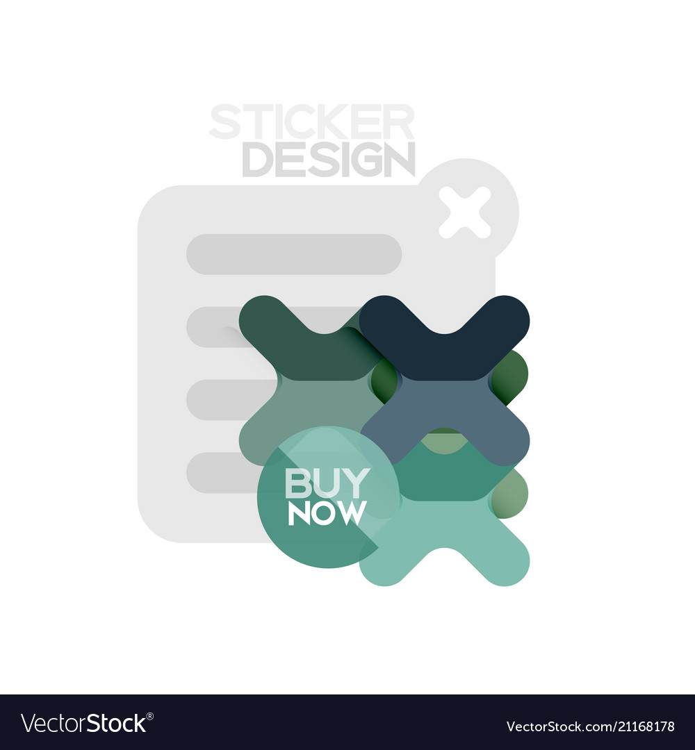 Flat design cross shape geometric sticker icon