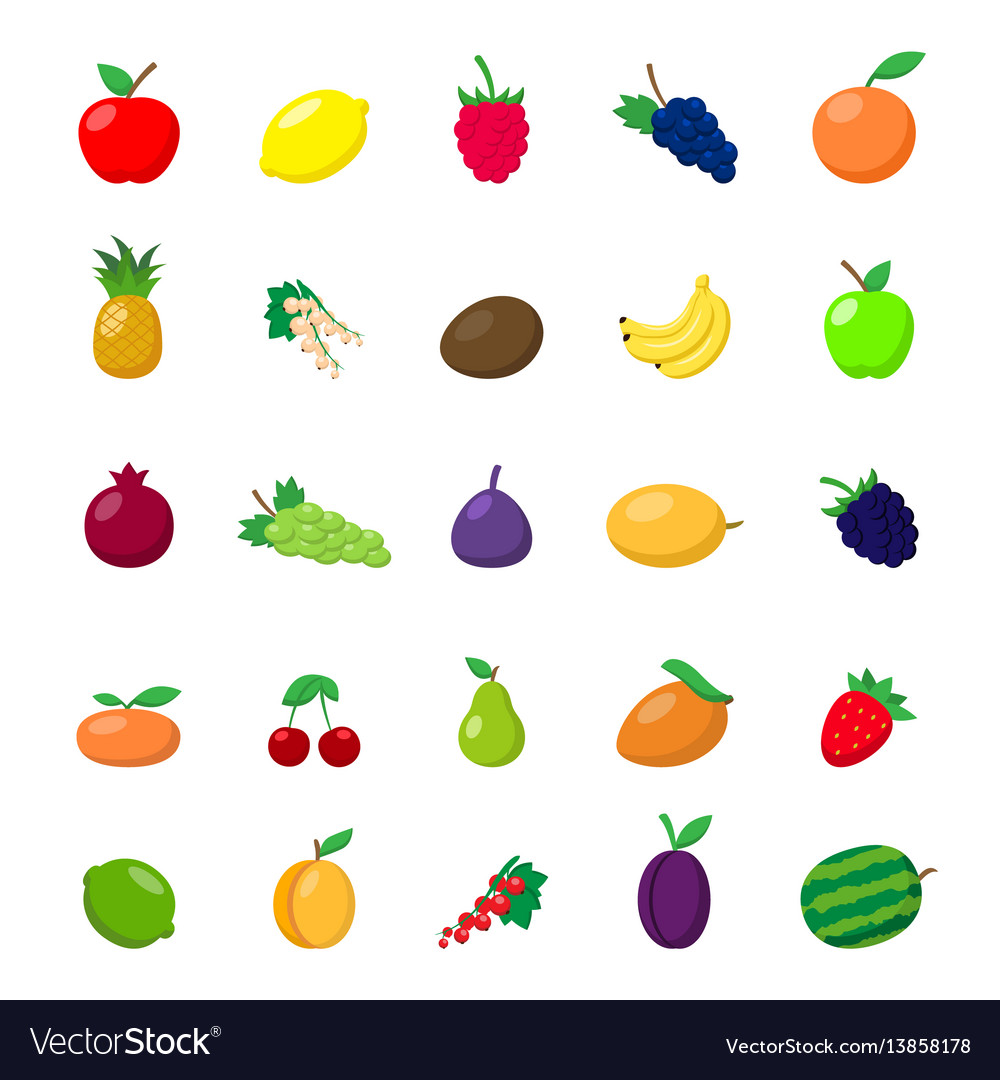 Flat fruit set vector