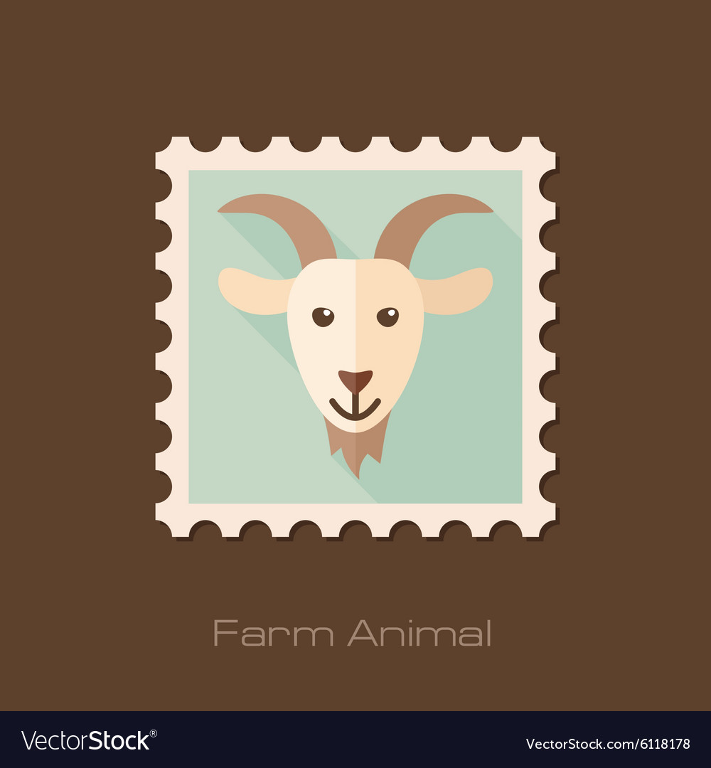 Goat flat stamp Animal head