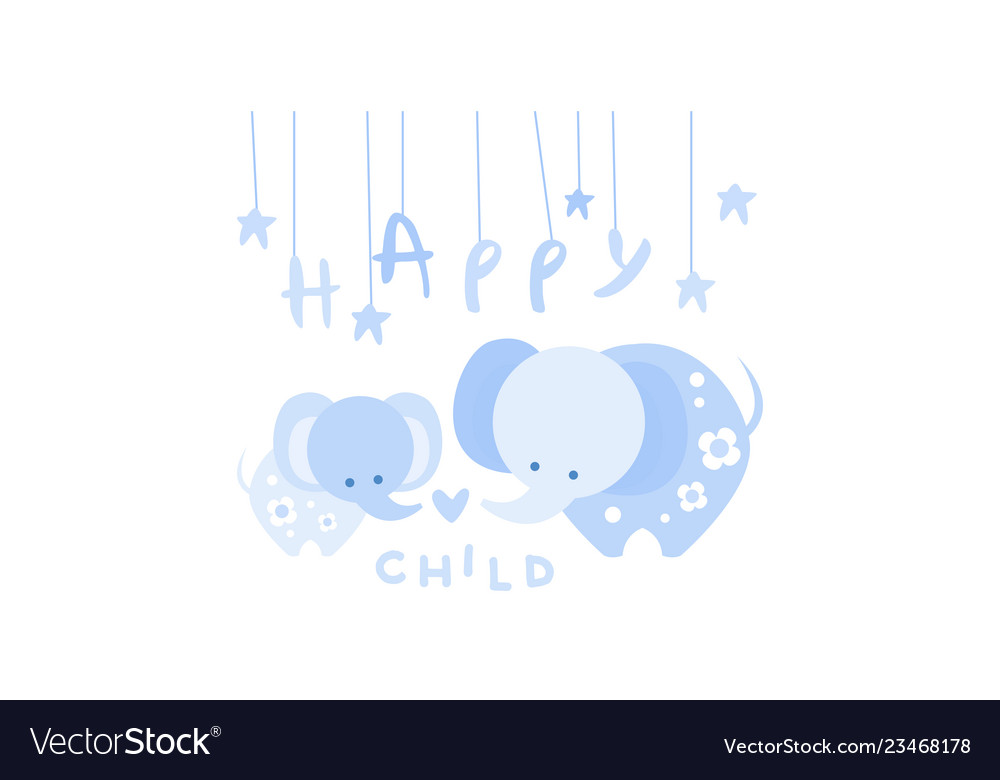 Happy child cute kids poster with an elephant in