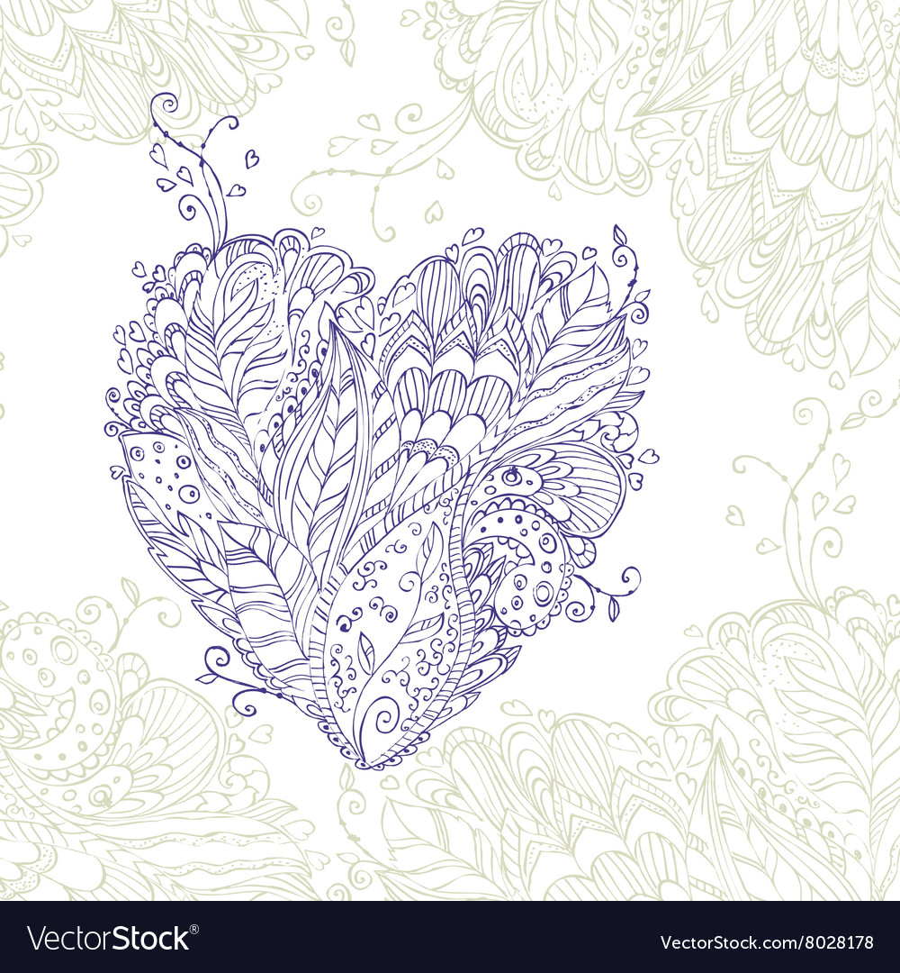 Happy Heart of doodle ornament in zentangle style