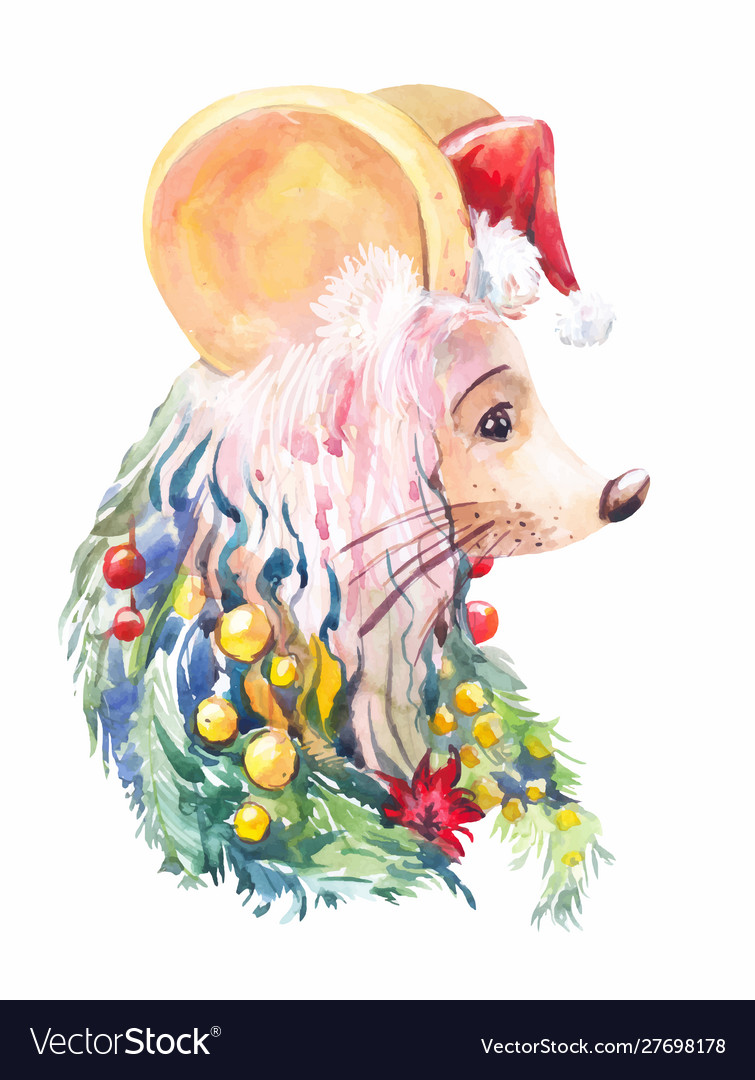 New year mouse creative christmas portrait of