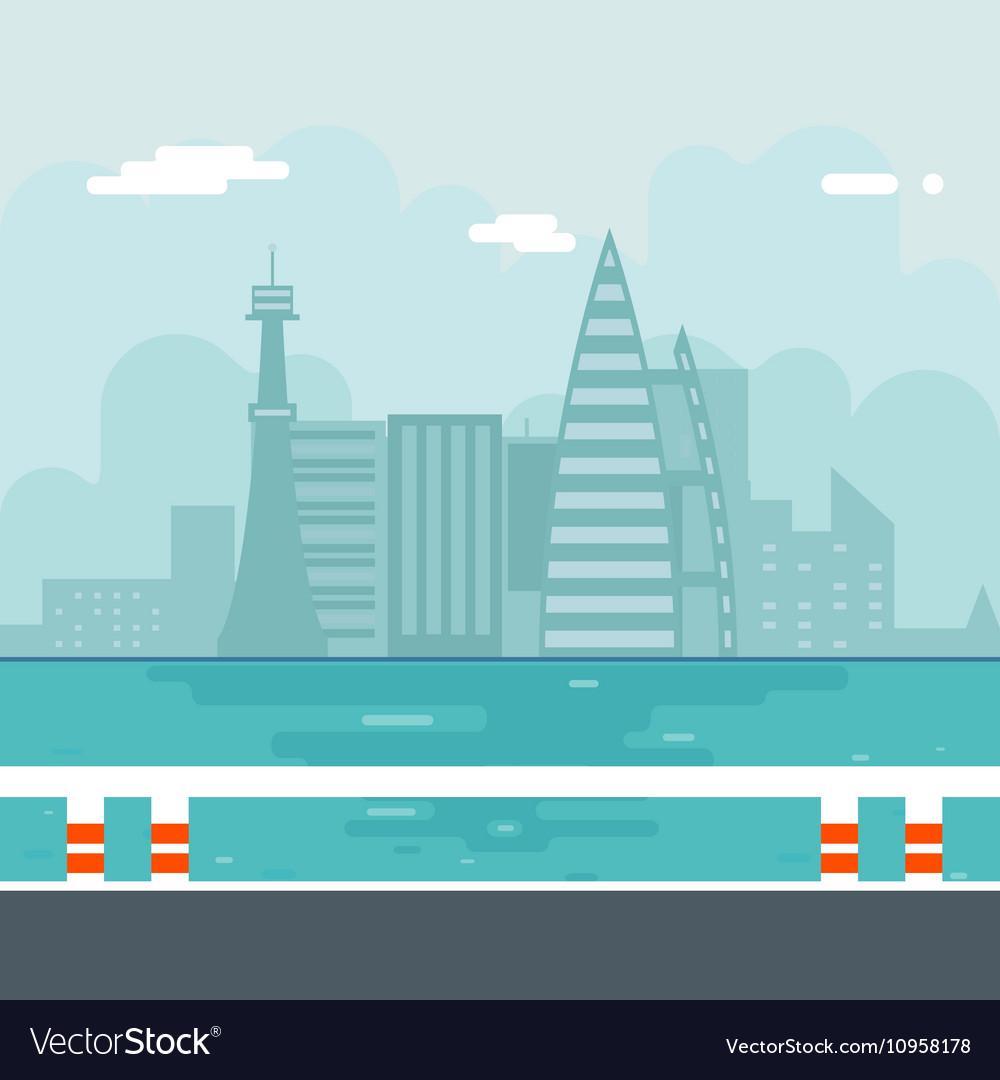 River Water Sea Modern City Background Flat Design