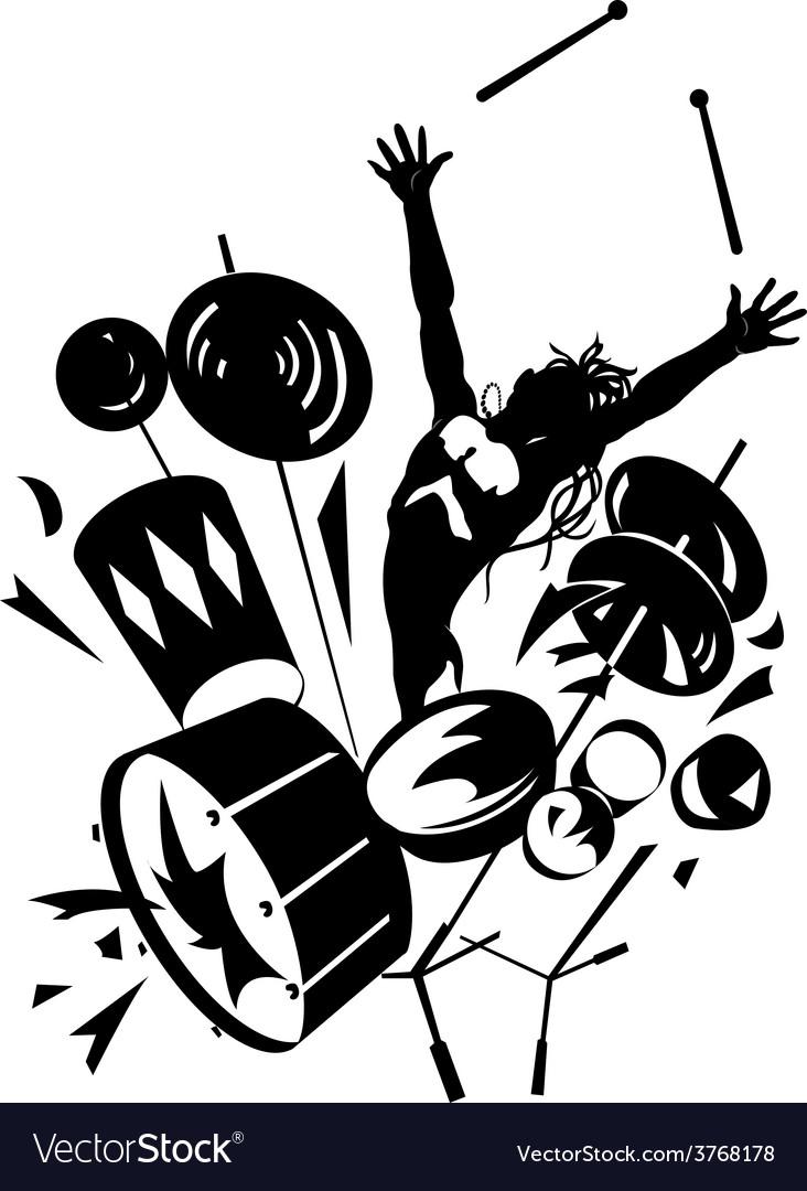 Rock drummer silhouette