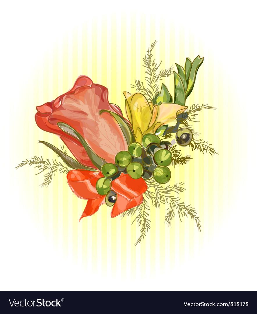 Rose and satin ribbon Wedding boutonniere